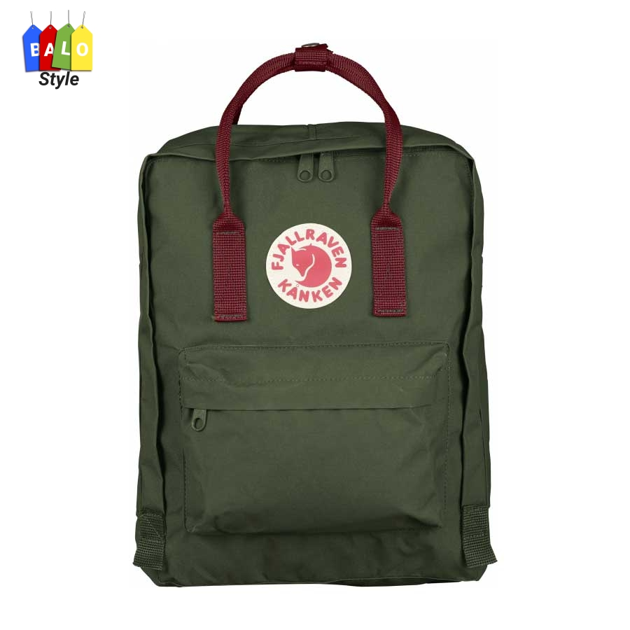 Balo Kanken Classic Forest Green/Ox Red – Fjallraven Brand